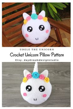 Meet Udele the Unicorn! She is super bubbly and sweet! Udele loves to be crocheted for a nursery/ baby shower gift and a gift for your child. Crochet Pillow Pattern, Pillow Patterns, Crochet Patterns, Unicorn Cushion, Unicorn Pillow, Half Double Crochet, Single Crochet, Crochet Home, Crochet Baby
