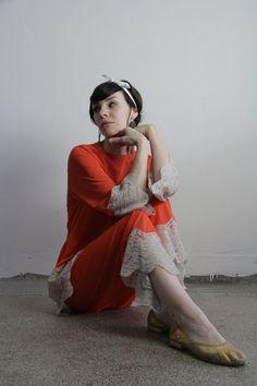 Vintage 60s Pajamas  Lace Trim  Mod Sleepwear  Orange . VeraVague.etsy.com