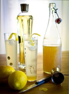 Sunshine, made with St. Germain 2 ounces limoncello tonic, we like fever tree (Denise) or schweppes (Lenny) st. Bar Drinks, Cocktail Drinks, Alcoholic Drinks, Beverages, Cocktails, Refreshing Drinks, Yummy Drinks, Cheers, Lemon Drink