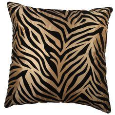 Divine Tiger- 18x18 Inches, Black Tiger Stripes Style on Silk Fabric Decorative Pillow Cover. (Gold) Exotique Imports http://www.amazon.com/dp/B00I4BQV3C/ref=cm_sw_r_pi_dp_7ozfub1N8VCGZ
