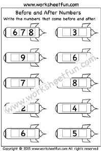 Before and After Numbers – 1-10 – One Worksheet