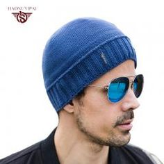 e5522563 [ 45% OFF ] Mens Winter Hats Knitting Warm Skull Cap Blue Black Cotton Hat. Winter  Hats For ...