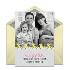 Customizable Baby Shower Ducks online invitations. Easy to personalize and send for a party. #punchbowl