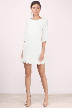 3cd7164f46f Sweetly Scalloped Cream Shift Dress Shift Wedding Dress
