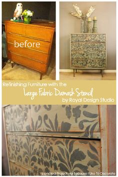 Refinishing Furniture with the Large Fabric Damask from Royal Design Studio | Allover Damask Stencil Collection