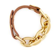 chain link leather bracelet <3