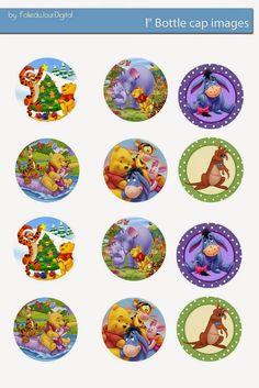 Folie du Jour Bottle Cap Images: Free Winnie the Pooh Digital bottle cap images