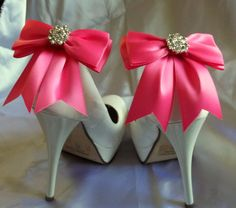 SHOE CLIPS - set of 2 - satin with sparkling rhinestones, Bridal Shoe Clips, Many colors to shoose from