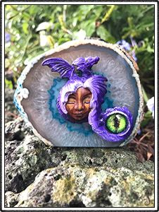 "polymer clay sculptures, sculpture artist,      Crystal Keeper ""Alina"" (name meaning Light)     Handmade Item     Materials: Blue Agate Geode, Polymer Clay, Glass     Represents: Awakenings, Illumination and Mastery Dragon Energy, Glass dragon Eye"