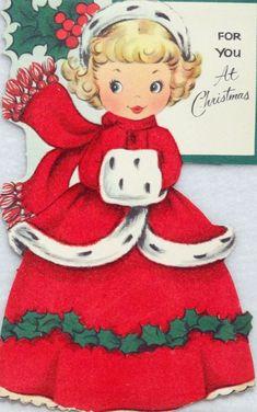Vintage Christmas Girl Greeting Card - Memories of the past. Christmas Card Pictures, Vintage Christmas Images, Old Christmas, Old Fashioned Christmas, Retro Christmas, Vintage Holiday, Christmas Girls, Vintage Images, Vintage Greeting Cards