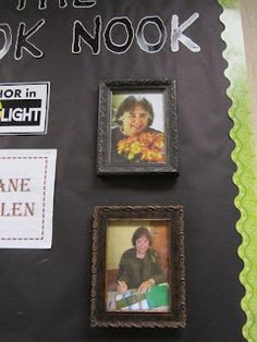 Add authors' pictures to photo frames for a cozy, homey Author in the Spotlight or Book Nook corner...