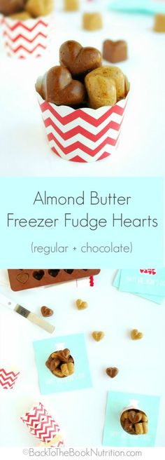 Almond Butter Freezer Fudge Hearts - so cute, super easy, and ready in under an hour!   Back To The Book Nutrition