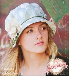 Boho Cloche Hat: Create a trendy and stylish hat with this pattern! Instructions are included for three different hat sizes as well as the fabric flower accessory.