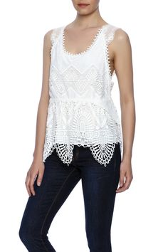 This embroidered lace tank features a bib-style front and tie-back.   Embroidered Lace Tank by Anna Sui. Clothing - Tops - Blouses & Shirts Clothing - Tops - Sleeveless SoHo, Manhattan, New York City Manhattan, New York City