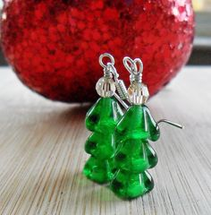 Christmas Tree Earrings Sterling Silver Christmas by DesignsbyALY, $17.10
