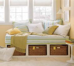 DIY Daybed: Decorating Your Bedroom : Daybed With Storage Daybed With Storage, Diy Daybed, Bedroom Storage, Window Seats With Storage, Window Benches, Chaise Longue Diy, Platform Daybed, Basement Guest Rooms, Daybed Design