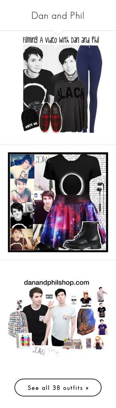 """""""Dan and Phil"""" by designergirl03 ❤ liked on Polyvore featuring Topshop, Vero Moda, Eos, Yves Saint Laurent, Dr. Martens, Skullcandy, Urban Outfitters, Dolce&Gabbana, H&M and Tee and Cake"""
