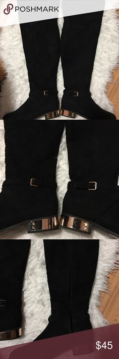 Over the Knee Boots w/ Gold Plate Used once. Over the knee. Can fit my calf but is tight as to why I'm selling. The bottom is in perfect condition. The cloth exterior is great and the gold plate may have scratches but is still shiney and beautiful. Any questions please ask (will not model) 😊 Forever 21 Shoes Over the Knee Boots