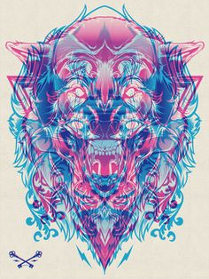 Dope Shit -> Halftone Print Series - Wolf & Lion on the Behance Network <-