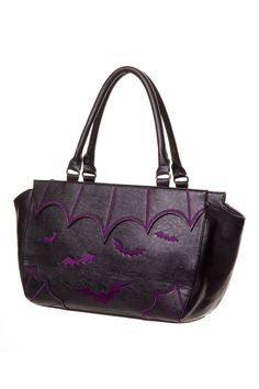 """This cool Gothic handbag is made from black faux leather and flying bats and cobweb are embroidered on front. This handbag is perfect size for everyday use and measures 16"""" x 11' x 5"""" with 2 handles."""