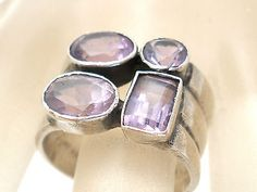 Sterling Silver Amethyst Ring Size 5.5 Wide Band 3 Carat Purple Gemstones Gift