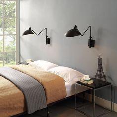 Set of 2 Mid Century Modern Design Wall Sconce BLK