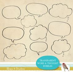 Digital Clip Art - 10 Hand Drawn Word Bubbles and Thought Clouds as Transparent Line Art on Etsy, 3,95 €