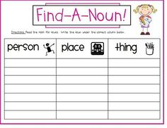 "great scavenger hunt for nouns- can have students ""hunt"" nouns around the classroom"