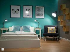 Kolory, turkus, sypialnia