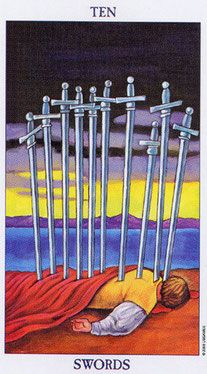 Detailed Tarot card meaning for the Ten of Swords including upright and reversed card meanings. Access the Biddy Tarot Card Meanings database - an extensive Tarot resource. Tarot Significado, Rider Waite Tarot, Tarot Card Meanings, Tarot Readers, Oracle Cards, Card Reading, Tarot Decks, Archetypes, Tarot Cards