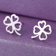925k sterling silver 4 leaf clover earrings New Jewelry Earrings