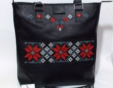 Maria - geanta mare din piele naturala cu motive traditionale romanesti Bag Patterns To Sew, Leather Bags Handmade, Diaper Bag, Cross Stitch, Shoulder Bag, Sewing, Sew Bags, Crochet, Moldova