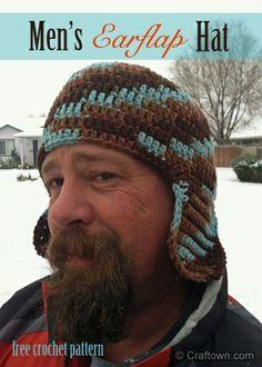 Men's Earflap Hat (free crochet pattern): one of our most popular patterns, regardless of season. #craftown #crochet