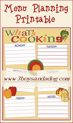 Free Whats Cooking Weekly Menu Planning Printable