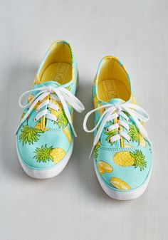 Fruits and Flatters Sneaker in Pineapple. You'll be met with cheers each time you sport these colorfully printed Keds! #blue #modcloth