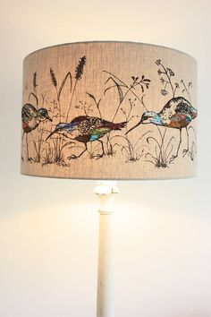 Lampshade 'wading birds' lampshade by lara sparks embroidery Decorate Lampshade, Decorating Lampshades, Lampshade Ideas, Lampshade Designs, Lamp Ideas, Diy Design, Design Ideas, Stone Lamp, Rustic Lamp Shades