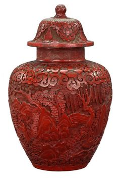 1: ANTIQUE CHINESE CINNABAR LACQUERED LIDDED JAR : Lot 1