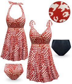 9f8c1a87c7a87 Customizable Rusty Red Print Halter or Shoulder Strap 2pc Plus Size Swimsuit /SwimDress 0x 1x 2x 3x 4x 5x 6x 7x 8x 9x
