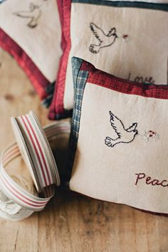 Love, Hope, Peace and Joy Christmas Pillows, PDF pattern at Stitching Cow