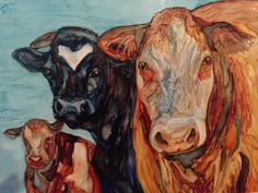 Three Cow-migos in alcohol ink by me, Laurie Henry. Copyright 2014.