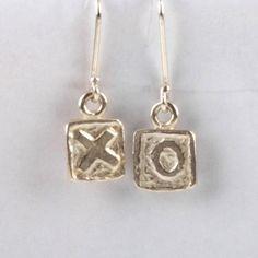 XO Tile Earrings - Silver | DARKBLACK $180 NZD