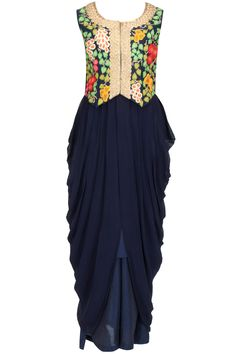 Navy drape dress with embroidered waistcoat BY AHARIN INDIA.
