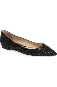 06bee6fb6d64 Jimmy Choo Romy Black Glitter Flats. Black Glitter