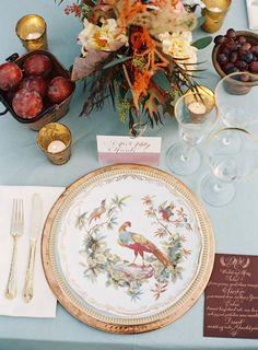 cornflower blue, burgundy, orange and gold tabletop