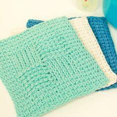 Tunisian Sampler Stitch Washcloth | Looksi Square