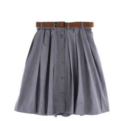 Very By Vero Moda Womens Grey High Waist Chambray Skirt ($48) ❤ liked on Polyvore