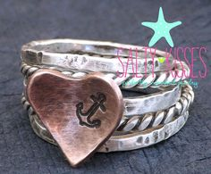 My anchor ring - Sterling silver and copper heart mixed metal twist rope nautical band hammered stacking jewelry on Etsy, $64.00