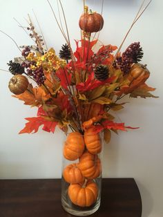 Thanksgiving / fall decor simple with leftover pumpkins from Halloween