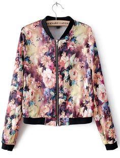 Blooming Florals Print Bomber Jacket - Sheinside.com