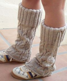 Knitted, slightly flared, beautifully textured legwarmers!